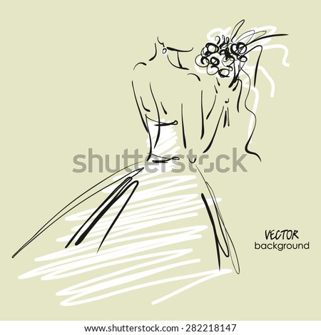 art sketch #8 of beautiful young  bride in while dress with the bride's bouquet. Vector background with space for text. - stock vector