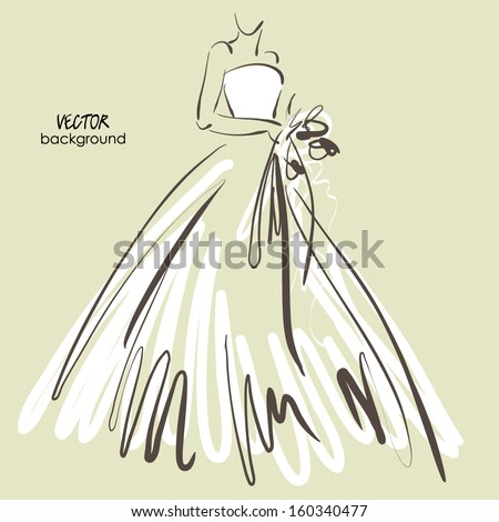 art sketch #6 of beautiful young  bride in white dress and with the bride's bouquet. Vector background with space for text. - stock vector