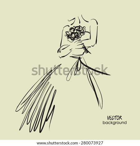 art sketch #7 of beautiful young  bride with the bride's bouquet. Vector wedding background with space for text. - stock vector