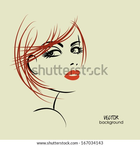 art sketched beautiful girl half-face with straight hair, in vector - stock vector