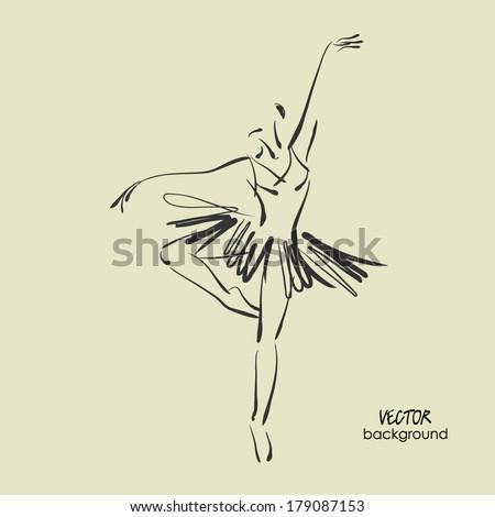 art sketched beautiful young ballerina in ballet dance on studio - stock vector