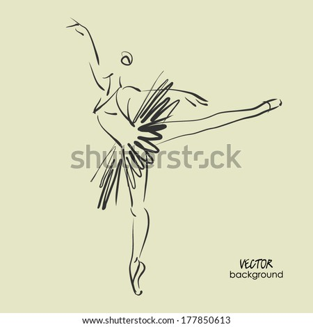 art sketched beautiful young ballerina in ballet pose - stock vector