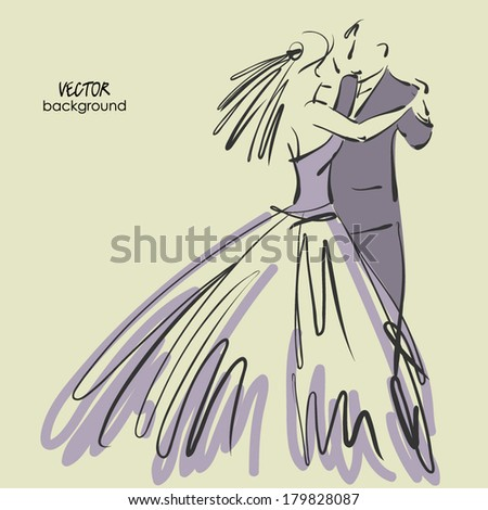 art sketched beautiful young bride and groom in dance. Vector background with space for text. - stock vector