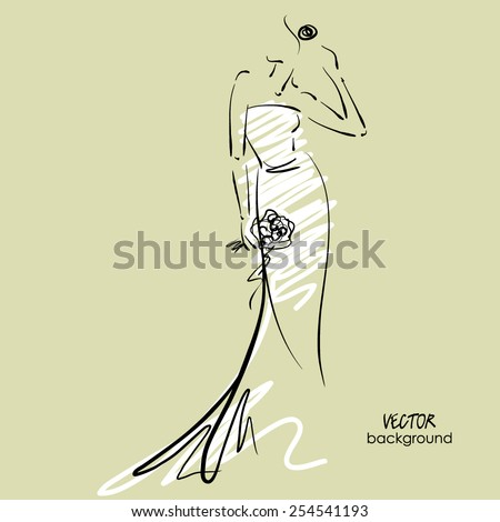 art sketched beautiful young  bride in white dress with the bride's bouquet. Vector background with space for text. - stock vector