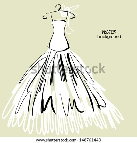 art sketched vector drawing of bride white dress - stock vector