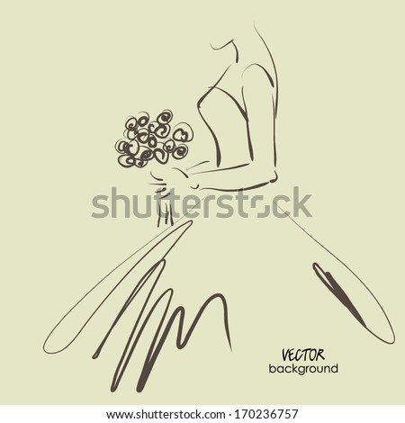 art sketching beautiful young  bride with the bride's bouquet.Vector background with space for text. - stock vector