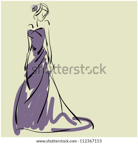 art sketching of beautiful melancholy young  bride in violet. Sketchy vector with space for text. - stock vector