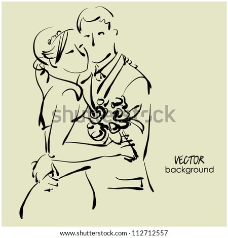 art sketching of beautiful young  bride and groom with the bride's bouquet. Sketchy vector background with space for text. - stock vector