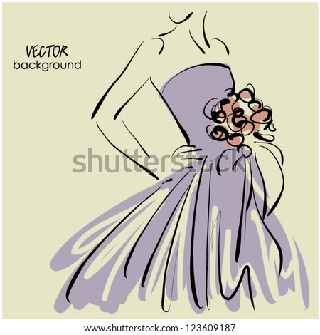 art sketching of beautiful young bride with the bride's bouquet. Sketchy vector background with space for text. - stock vector