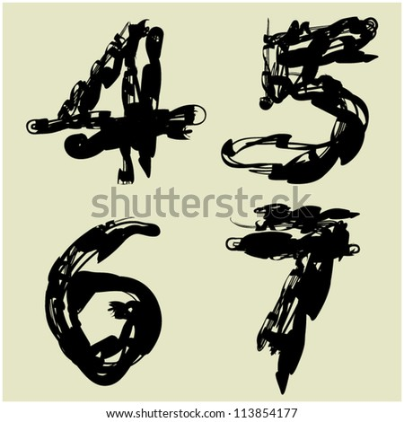 art sketching set of vector figures and font symbols part 8 - stock vector