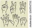 art sketching set of vector hands  symbols - stock vector