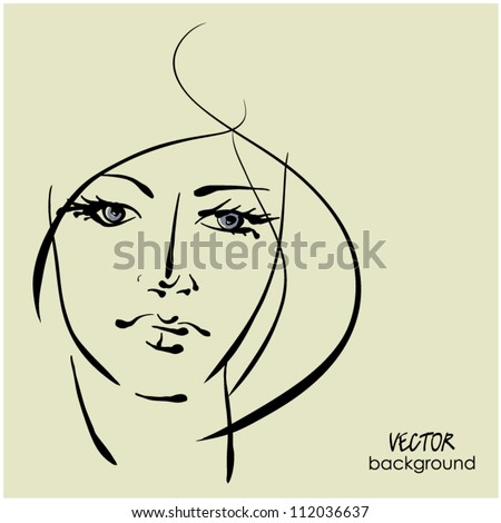 art sketching vector beautiful girl face  symbols with space for text - stock vector