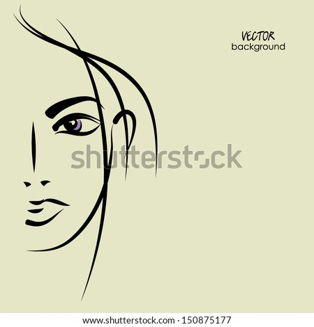 art sketching vector of face beautiful young woman  - stock vector