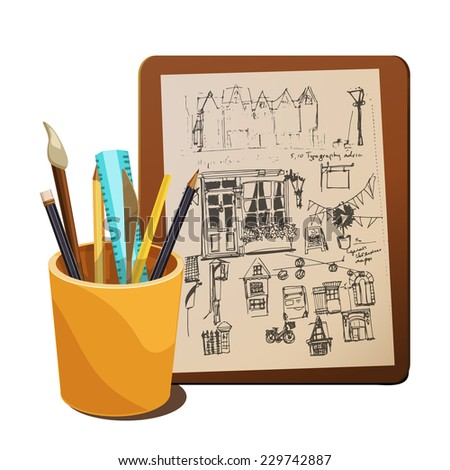 Art supplies and sketch, vector illustration. - stock vector