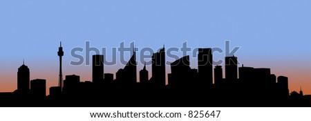 Art - Sydney at dawn - stock vector