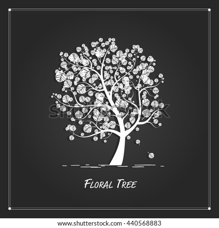 Art tree for your design on black background - stock vector