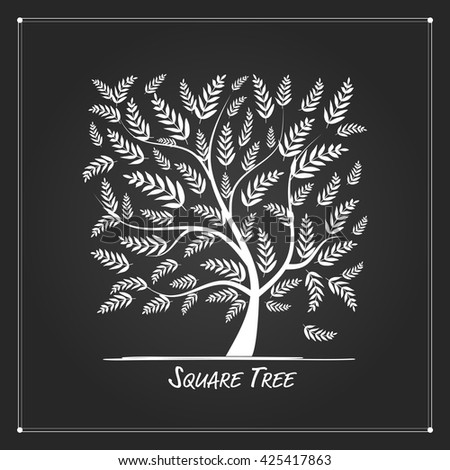 Art tree square for your design - stock vector