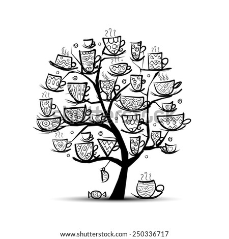Art tree with mugs and cups. Sketch for your design. Vector illustration - stock vector