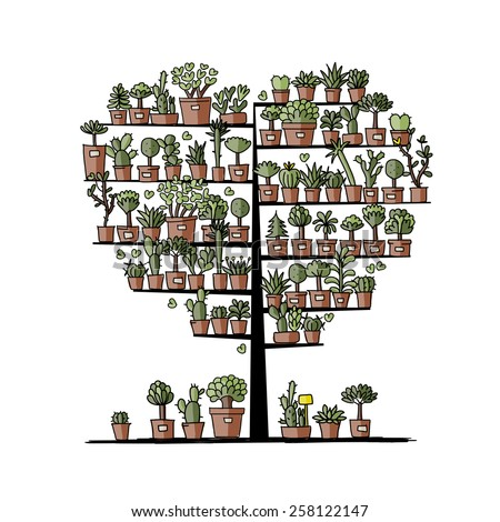 Art tree with plants in pots, sketch for your design. Vector illustration - stock vector