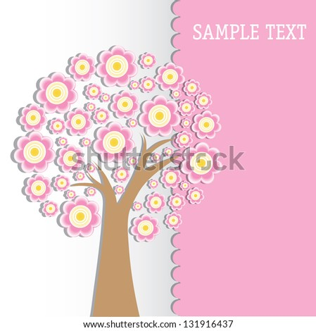 Art tree with spring flowers - stock vector