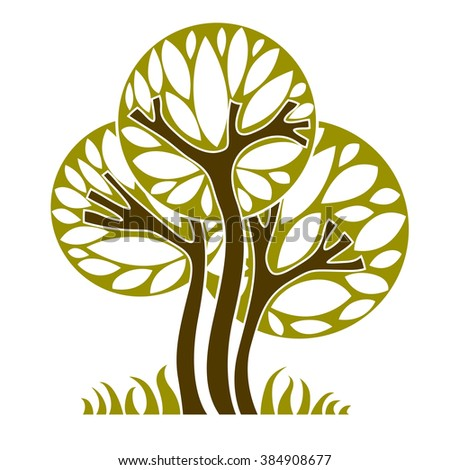 Art vector graphic illustration of tree, season concept, can be used as design symbol on ecology and nature theme. - stock vector
