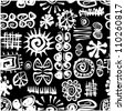 art vector seamless pattern, vintage, incas stylized background in black and white colors - stock vector