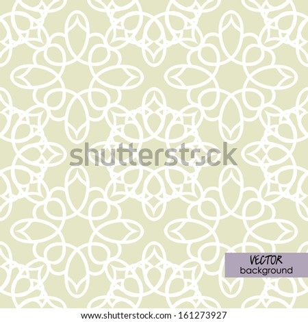 art vintage damask seamless pattern, white ornament on beige background in vector; #8 of collection - stock vector