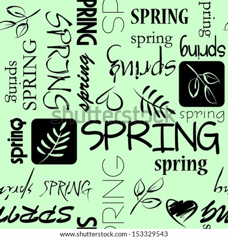art vintage word pattern spring background in green and  black colors - stock vector