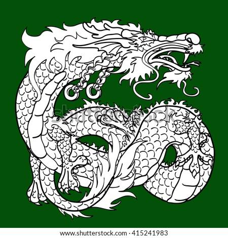 Artful Asian dragon black contour on green background - stock vector