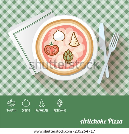 Artichoke pizza on a dish with icon ingredients and recipe name at bottom - stock vector