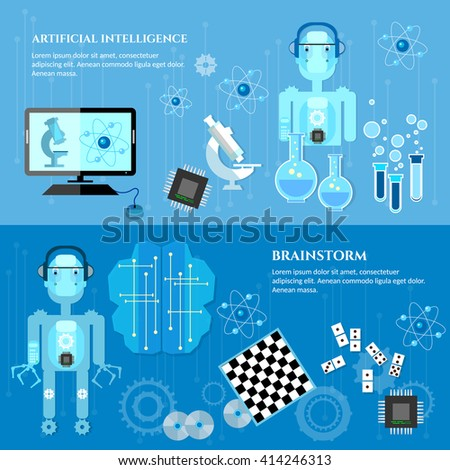 Artificial intelligence banners future technologies modern robot microchips technology of the future robotic technology - stock vector