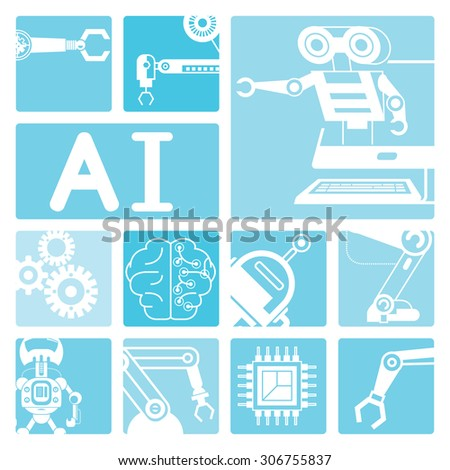 artificial intelligence concept, robotics icons - stock vector