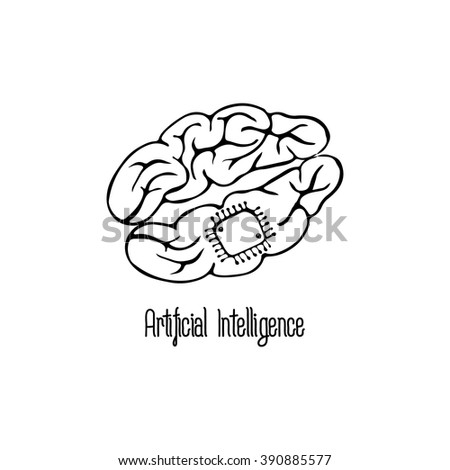 artificial intelligence, icon, brain, chip, nanotechnology - stock vector
