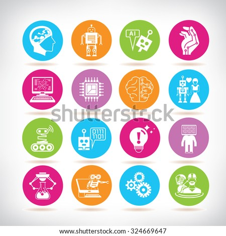 artificial intelligence icons, robotic icons - stock vector