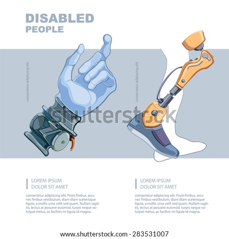 Artificial limb. Hand and foot. Template for the page of the magazine with vector picture.  - stock vector