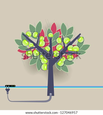 Artificial tree fruiting electrical bulbs plugged to power line. Green energy ecology concept. EPS 10 vector. Transparency, blending modes used. - stock vector