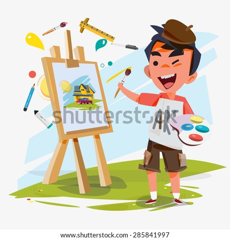 artist boy painting on canvas with art icons. character design.  Creative people professions collection. - vector illustration - stock vector