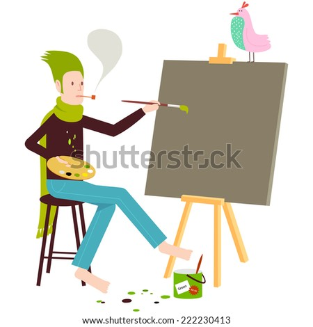 Artist painting on canvas with easel and bird - stock vector