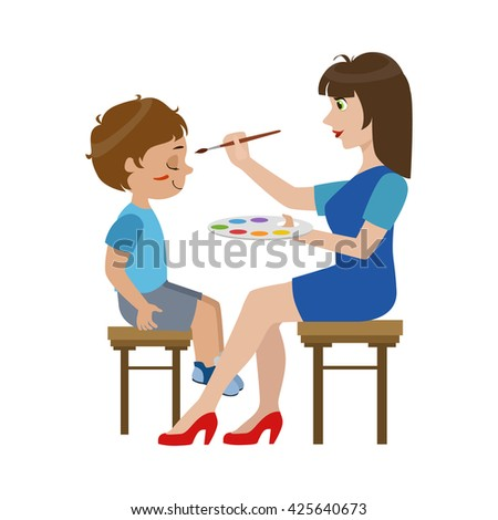 Artist Painting The Face Of The Boy Bright Color Cartoon Childish Style Flat Vector Drawing Isolated On White Background - stock vector