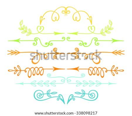 Artist vintage hand drawn colorful arrows. Set of decorative elements. Floral and florid vignettes. - stock vector