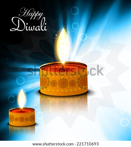 Artistic blue color background for happy Diwali festival diya reflection illustration vector   - stock vector