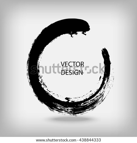 Artistic creative painted circle for logo, label, branding. Black enso zen round. Vector illustration. - stock vector