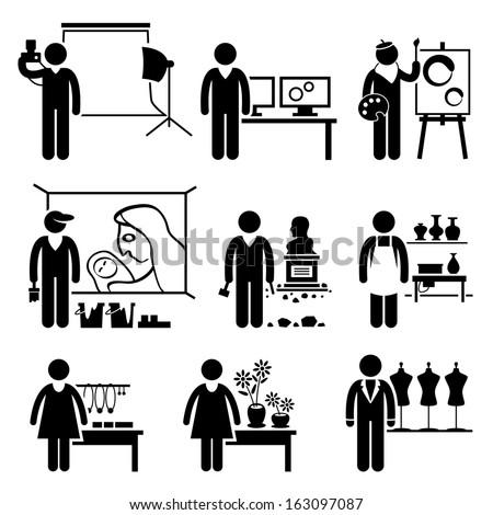 Artistic Designer Jobs Occupations Careers - Photographer, Graphic, Painter, Mural Artist, Sculptor, Pottery, Handcraft, Florist, Fashion - Stick Figure Pictogram - stock vector