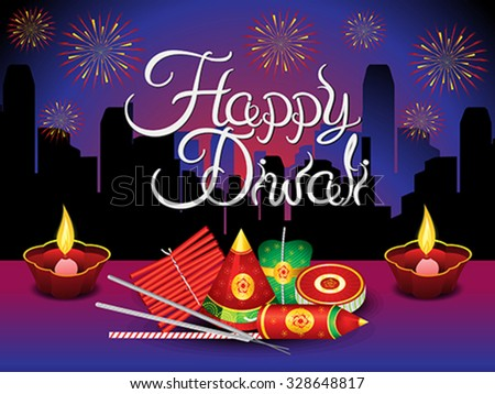 artistic detailed diwali background with crackers vector illustration - stock vector