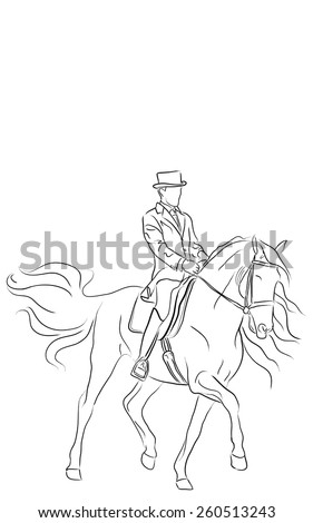 Artistic Dressage Horse and Rider Vector - stock vector