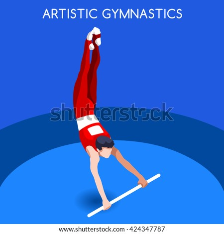 Artistic Gymnastics High Bar Athletes 2016 Summer Games Icon.3D Isometric Athlete.Sporting Championship International Competition.Sport Infographic Artistic  High Bar olympics Vector Image - stock vector