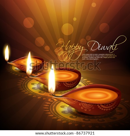 artistic hindu diwali festival vector background - stock vector