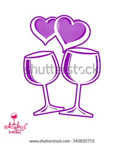 Artistic illustration of wineglasses with two elegant purple loving hearts. Wedding couple concept,?? stylized goblets of wine, best for use in graphic and web design.  - stock vector