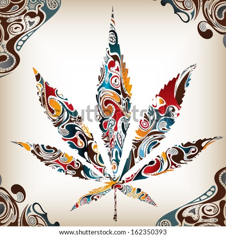 Artistic Leaf (Cannabis) Illustration- suitable for posters, cards, flyers, brochures, banners, badges,  advertising, publicity or any branding. - stock vector