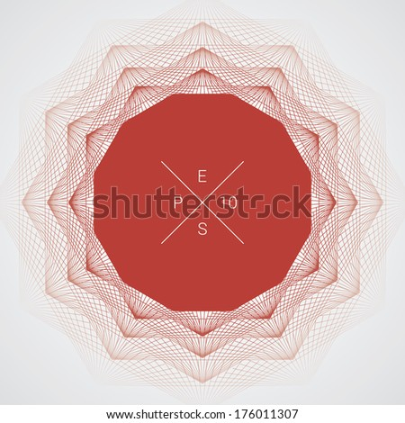 Artistic, ornamental background line graphics as polygon shape text box for web page, brochure, banner- red version - stock vector